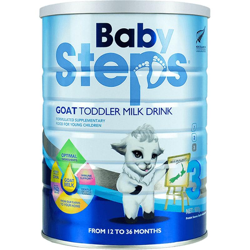 新西兰BabySteps蓓比步婴幼儿配方羊奶粉1-3岁3段900g官网正品