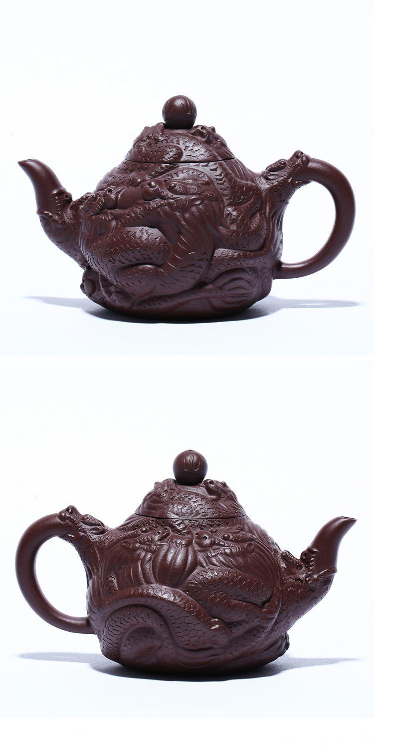 Yixing famous ore of purple clay pure manual it Kowloon statute carved dragon tea set the teapot