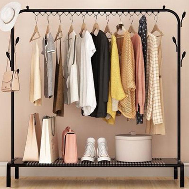 室内落地衣架阳台晾衣杆卧室挂衣架简易单杆式衣服架子凉晒架衣架