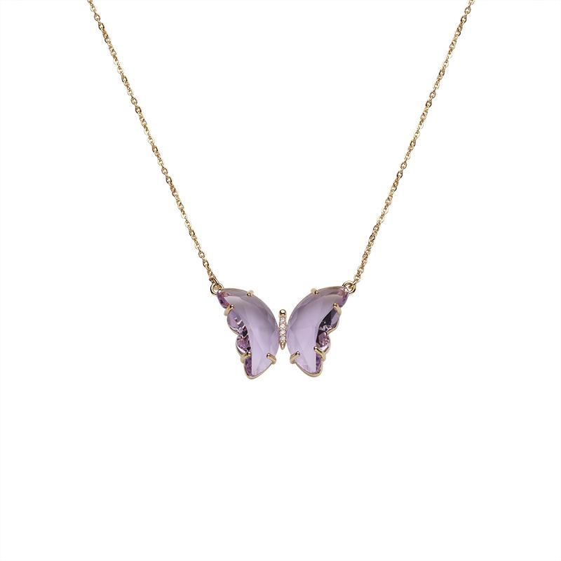 梦幻紫色水晶蝴蝶项链女夏天小众设计感颈链仙气锁骨链2021年新款