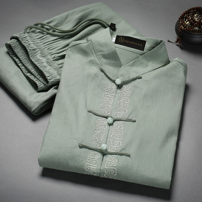 Man's Short Sleeve Tang Suit Middle-aged Men's Suit Chinese Flax, Cotton and Linen Clothing Chinese Style