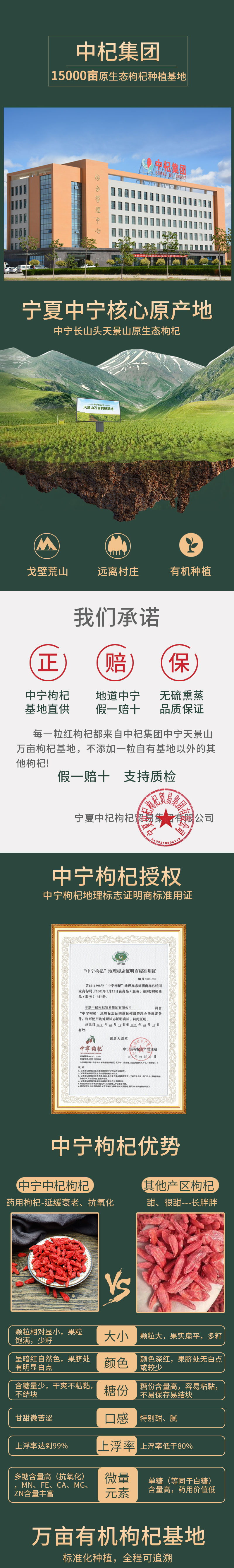 中杞集团 宁夏中宁 特优级甄选枸杞子 500g 4国有机认证 图1