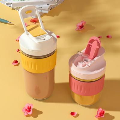 双饮随手杯咖啡杯双口水杯女夏季高颜值可爱带吸管杯带盖玻璃杯子