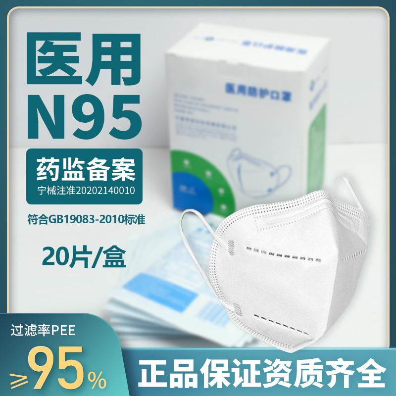 医院同款,美国N95标准,独立包装:泗禧堂 N95医用防护口罩 20只 5层防护 独立包装