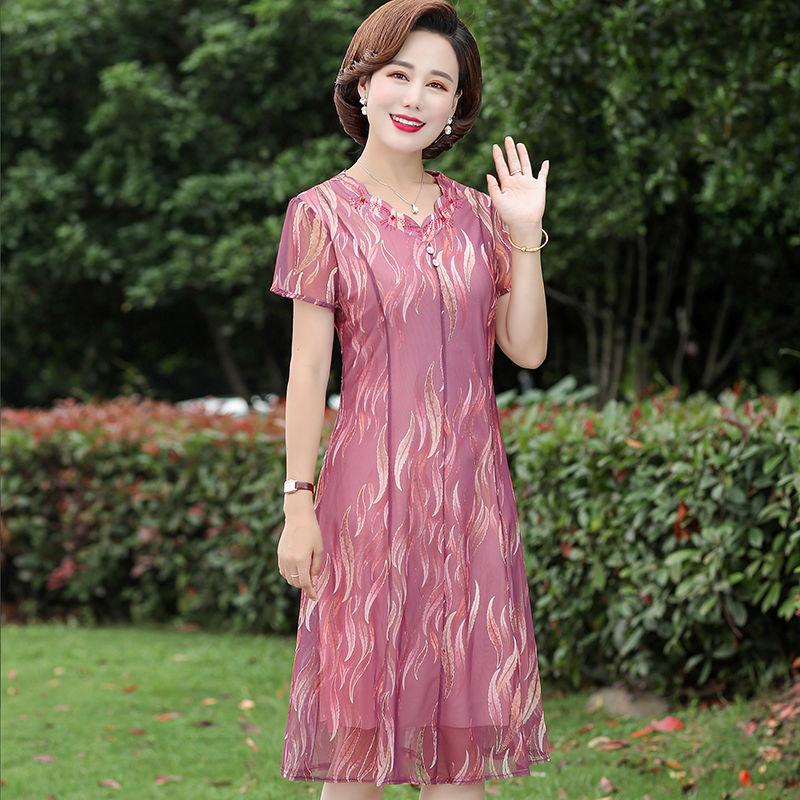 中年女装修身中长款连衣裙