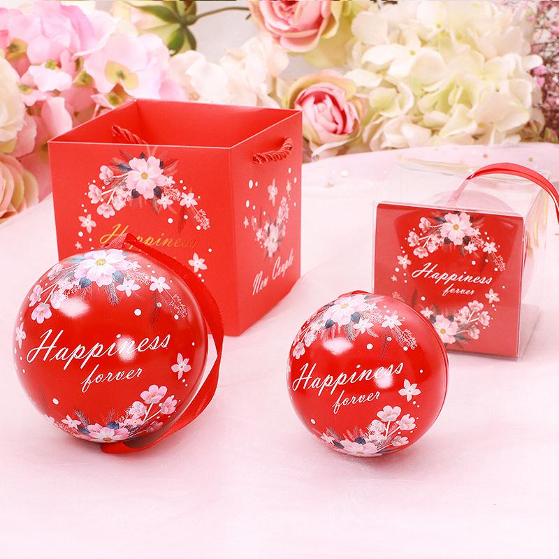 2020年创意圆球形喜糖盒马口铁盒宝宝满月糖果盒结婚用品礼品盒子