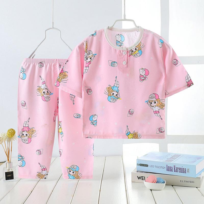 儿童棉绸睡衣夏季男孩短袖夏天薄款空调宝宝