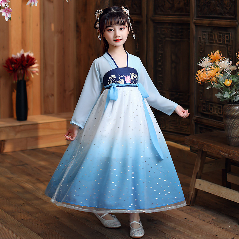 儿童汉服秋季春秋古装女童夏装中国风超仙襦裙连衣裙2021新款唐装