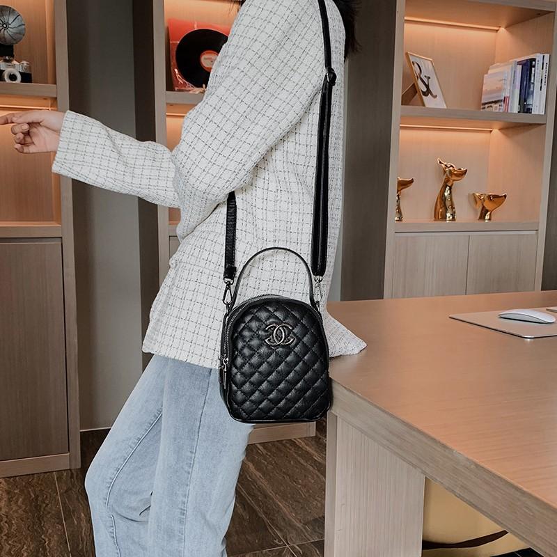 女士小包包2020新款韩版休闲时尚百搭菱格链条包真皮单肩斜挎包