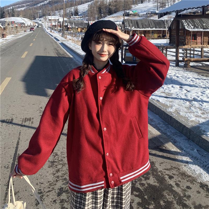 棒球服外套女潮ins秋冬季韩版宽松学生百搭加绒加厚开衫夹克上衣