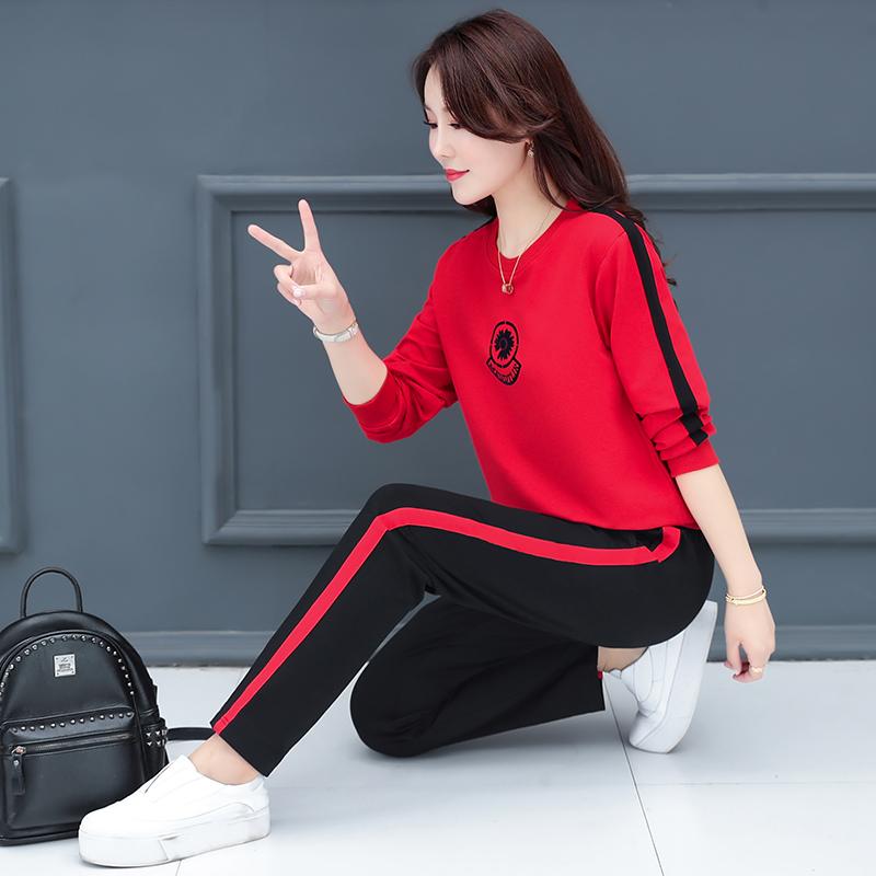 朴洛汐轻奢高品质纯棉长袖卫衣时尚休闲运动套装女秋冬跑步两件套