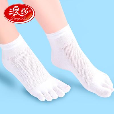 浪莎五指袜女超薄透气夏季分指头五趾袜纯棉防臭浅口脚趾袜子女士