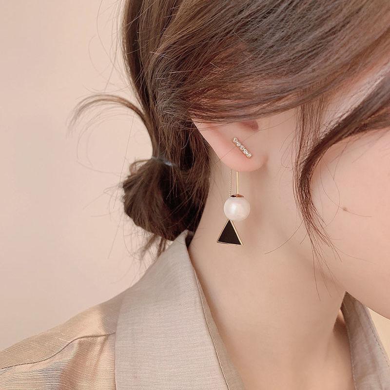 Pearl earrings women 925 sterling silver temperament senior atmosphere long version earrings 2021 new drop earrings fashion wild