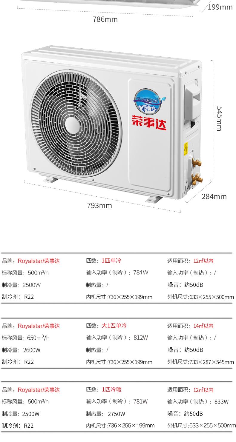 荣事达家用空调壁挂冷气大匹单冷冷暖壁挂式定速除湿节能静音详细照片