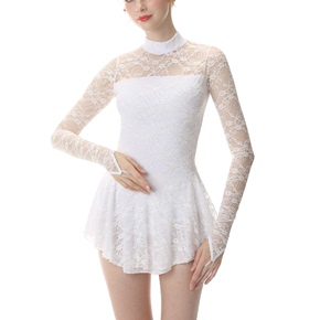 custom size figure skating dress for girls women Figure skating show dress skating suit custom made children adult girl competition test dress pure white lace