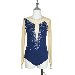 custom size figure skating dress for girls women Dance figure skating show dress skating clothing children girls adult performance pole dance skirt Navy