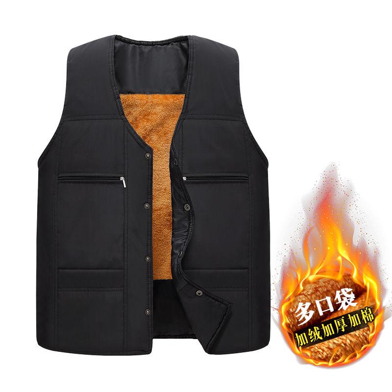 尊川秋冬季中老年男士爸爸装加绒加厚棉多口袋坎肩马甲