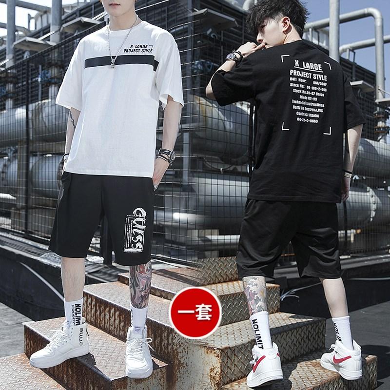 男士2020夏季新款运动套装短袖T桖短裤时尚休闲韩版潮流两件套男