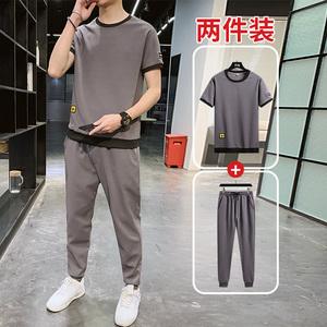 短袖t恤男士运动休闲套装男潮牌冰丝两件套