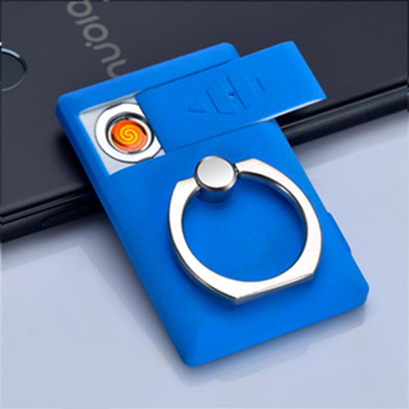 手机支架充电打火机个性USB电子防风点烟器个性创意礼物男