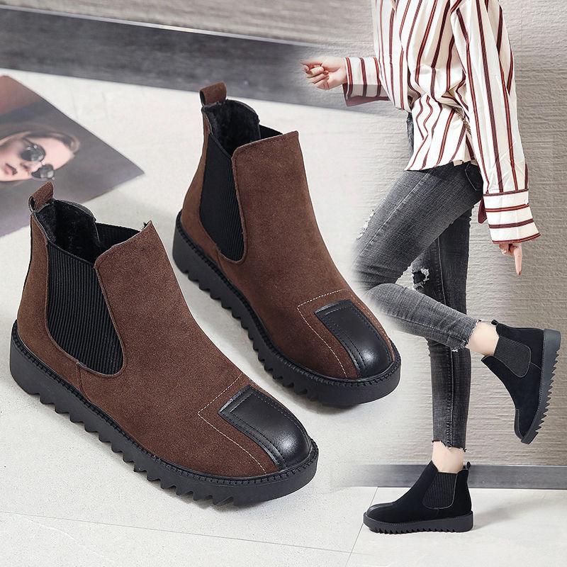 女士秋冬季新款短筒靴厚底靴韩版增高靴百搭时尚休闲加绒学生短靴