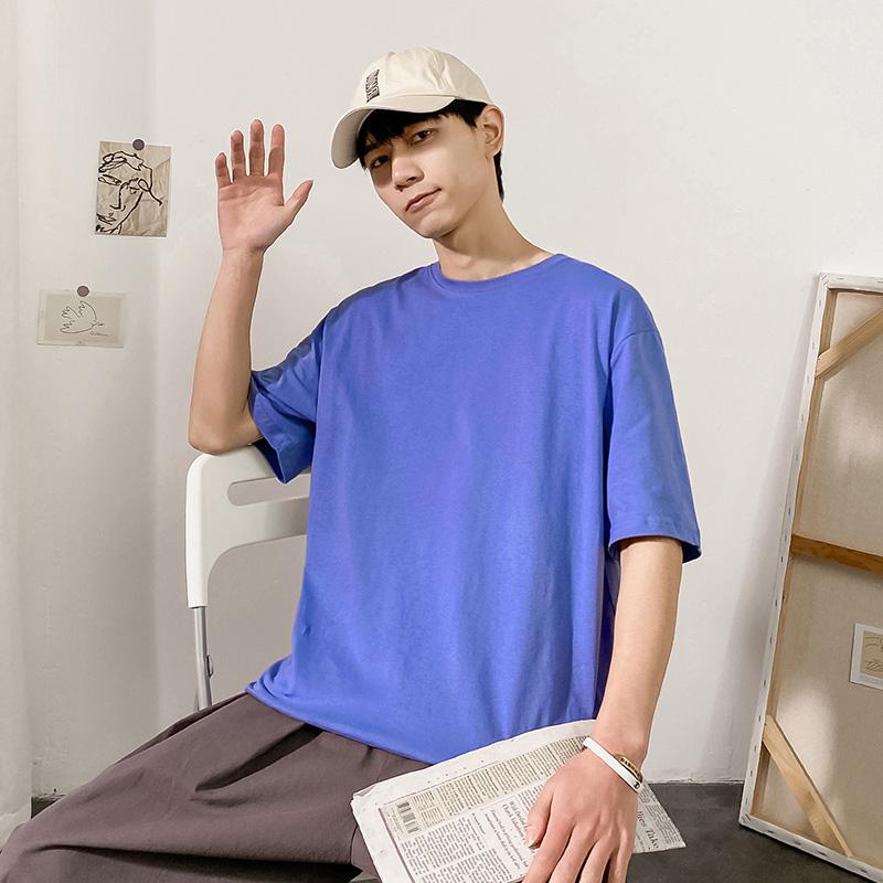 舒适面料潮牌纯色T恤男宽松短袖bf美式纯棉t恤简约休闲