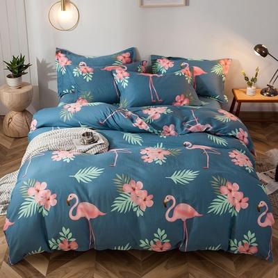 纯棉四件套100全棉秋冬简约床单被套四件套裸睡床上用品加厚