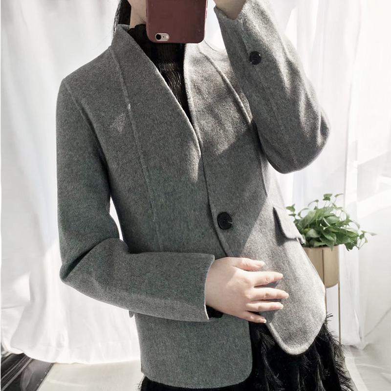无领西装外套女秋冬新款 纯手工双面羊毛小西装 通勤职业毛呢外套