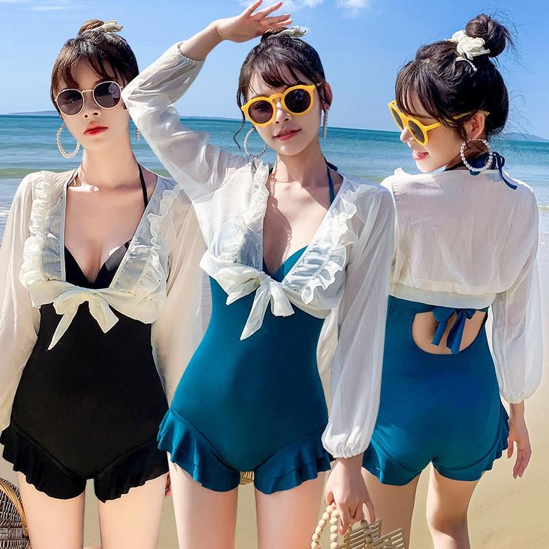 木耳边钢托聚拢泳衣连体式罩衫遮肉女韩国ins新款超仙女款披纱