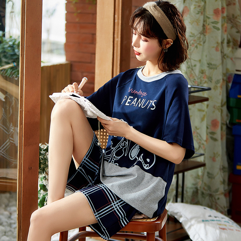 睡衣女夏季纯棉短袖短裤可爱日系夏天两件套装薄款春秋大码家居服