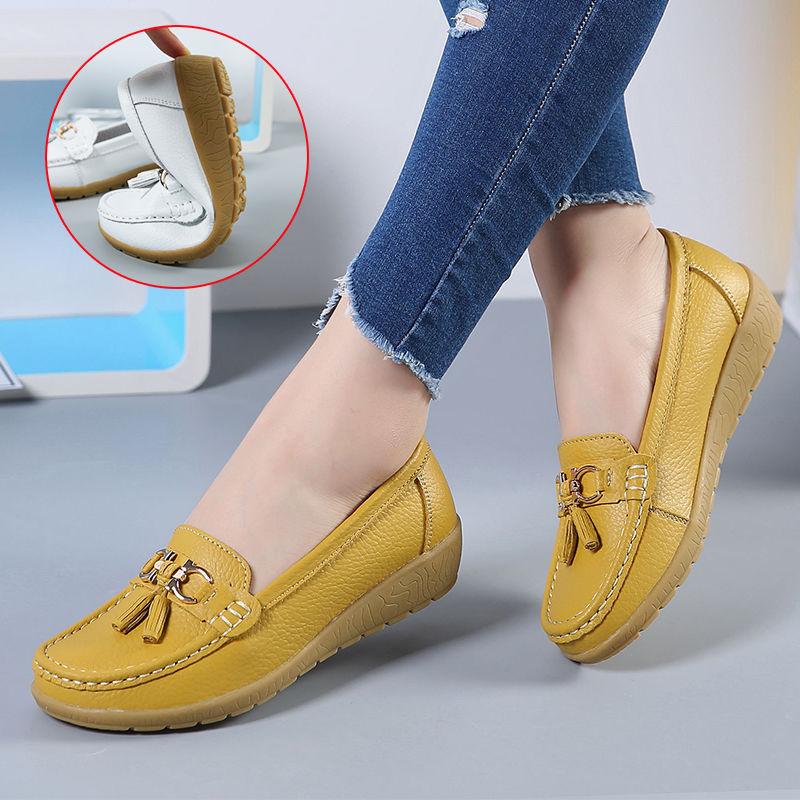女士镂空豆豆鞋瓢鞋护士鞋平底鞋单鞋一脚蹬