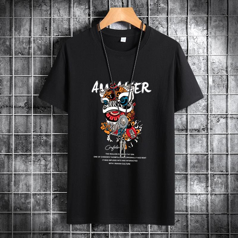 时尚潮流夏季新款国潮中国风舞狮T恤男潮牌短袖修身舒适面料