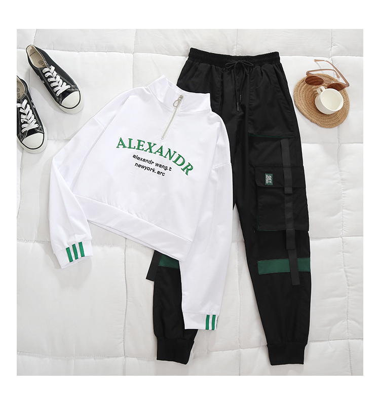 Workwear pants set autumn cool girl fashion handsome high waist thin loose casual sports two-piece set 7 Online shopping Bangladesh