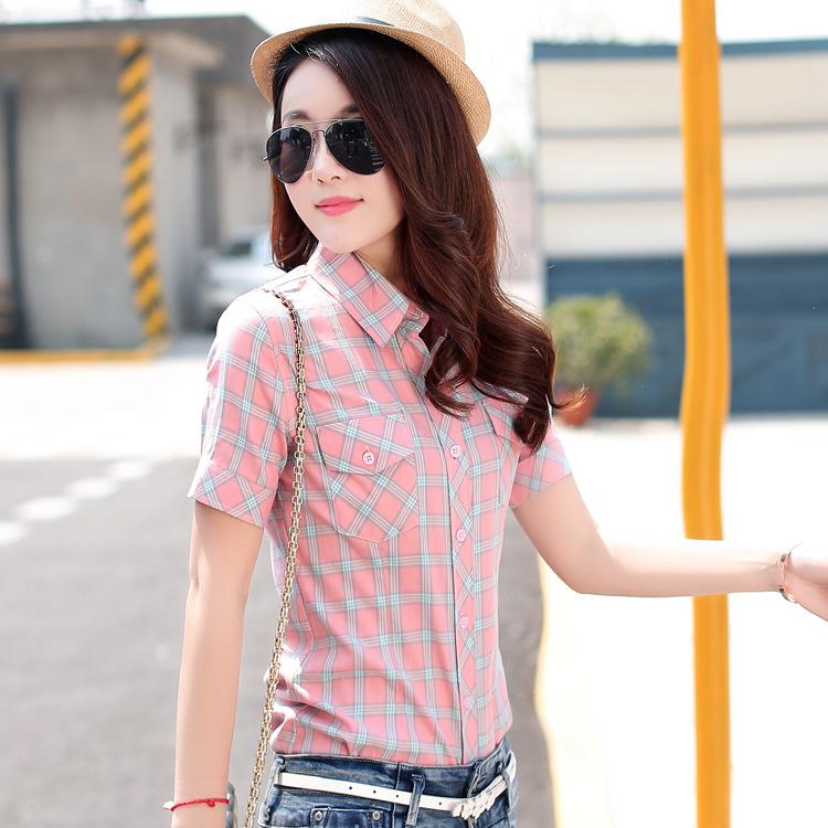 纯棉格子衬衫女2021夏装女装 半袖韩版修身短袖 夏季女装全棉衬衣