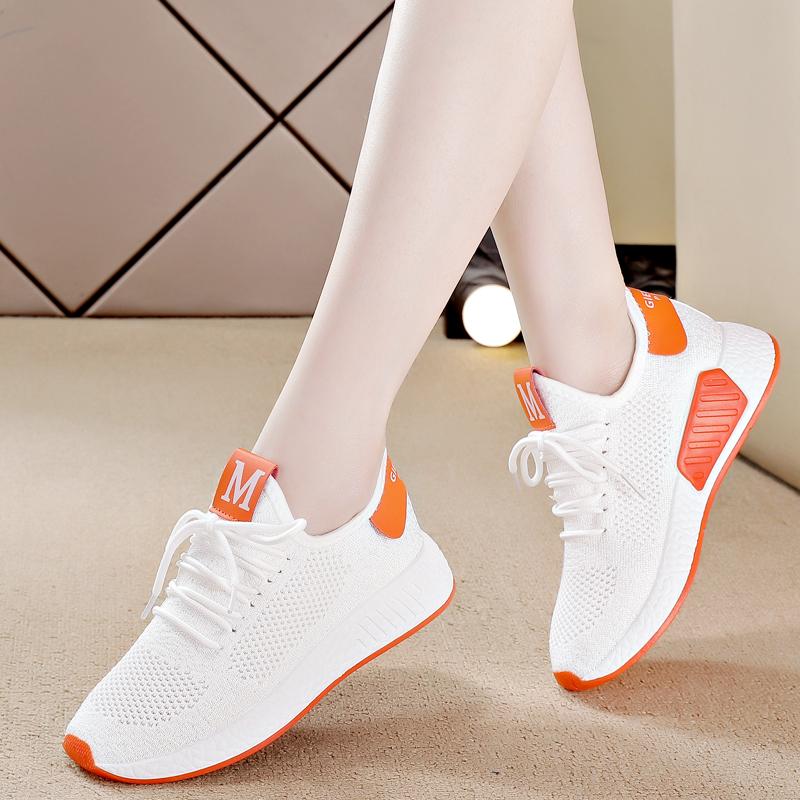 小白鞋女2021年春季新款女鞋透气网面网鞋休闲百搭跑步运动鞋子春