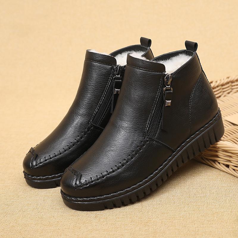 头层牛皮2020年冬季妈妈鞋棉鞋加绒保暖中老年鞋防滑软底舒适皮鞋
