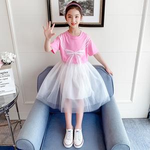 女孩连衣裙套装2021夏季新款连衣裙小女孩洋气公主裙子