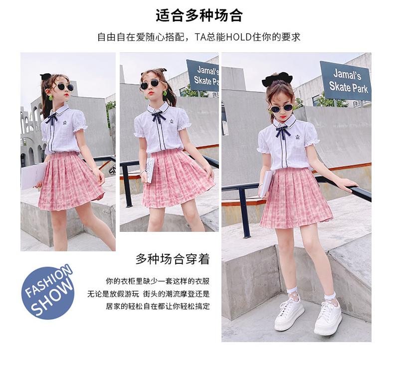 女童夏季制服装小学生正版学院风短袖公主裙