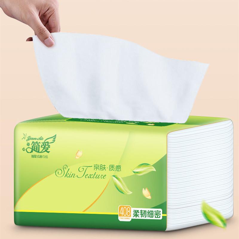 【加量装408张】简爱抽纸整箱批发原木家用餐巾纸妇婴抽纸巾实惠