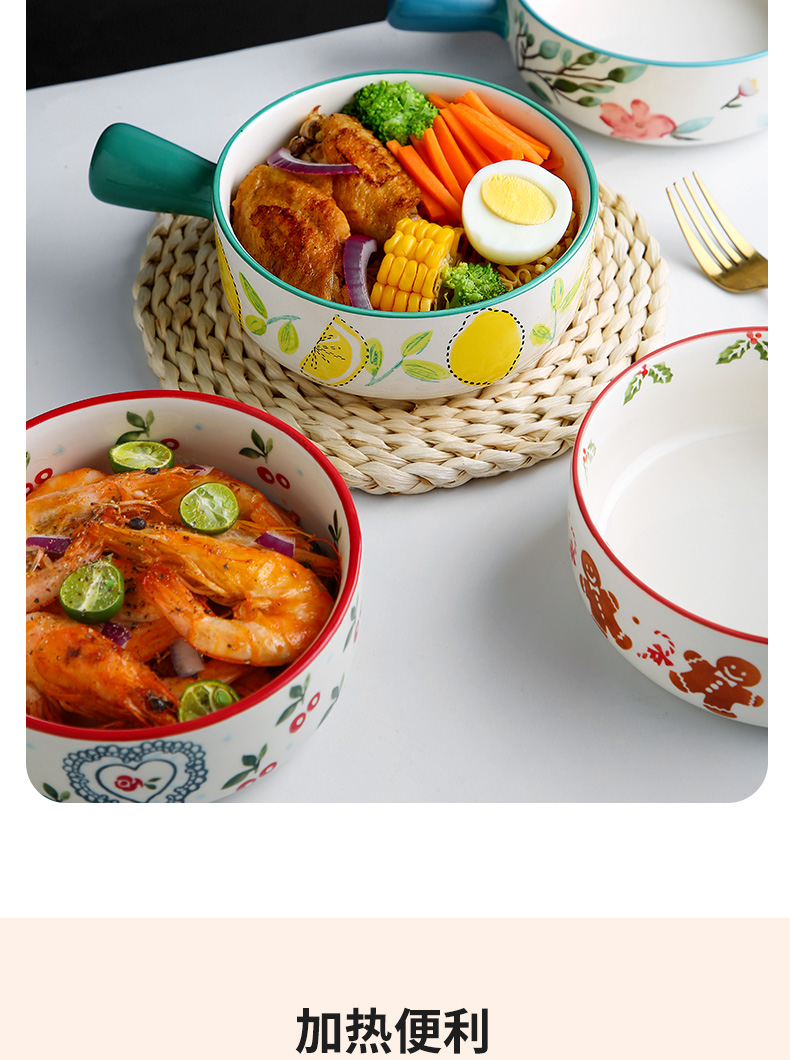 Japanese lovely handle household ceramic bowl with the microwave oven for a single small bowl tableware rainbow such as bowl dish