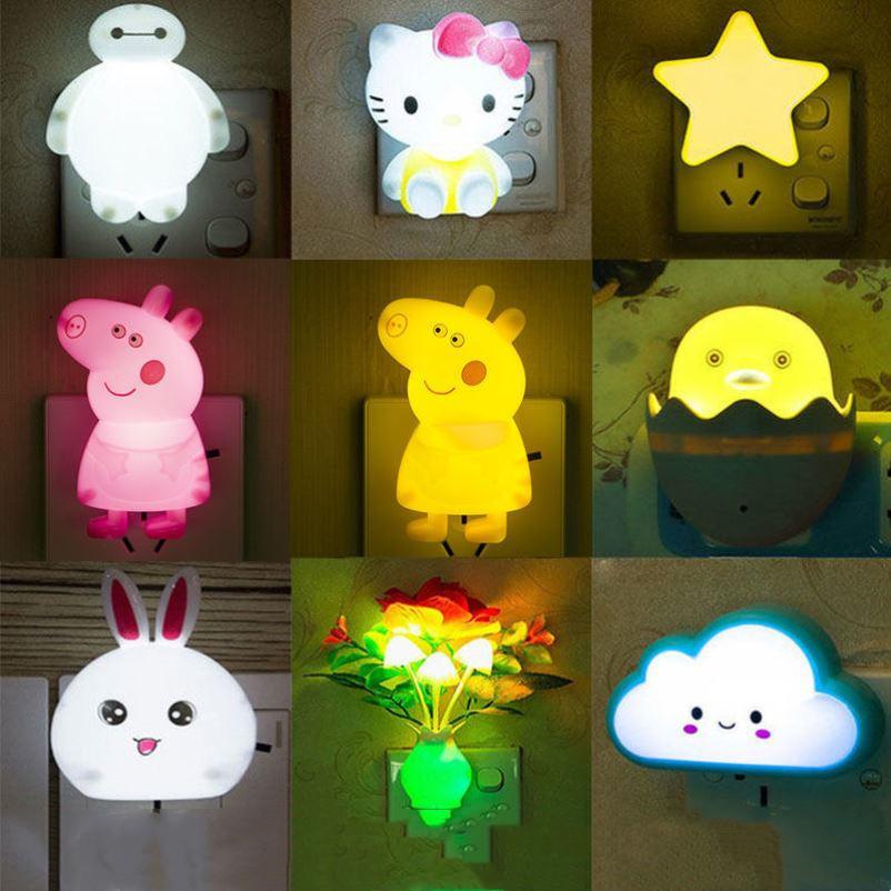 光控/帶開關LED節能燈插電小夜燈床頭壁燈插座燈座插頭夜光喂奶燈