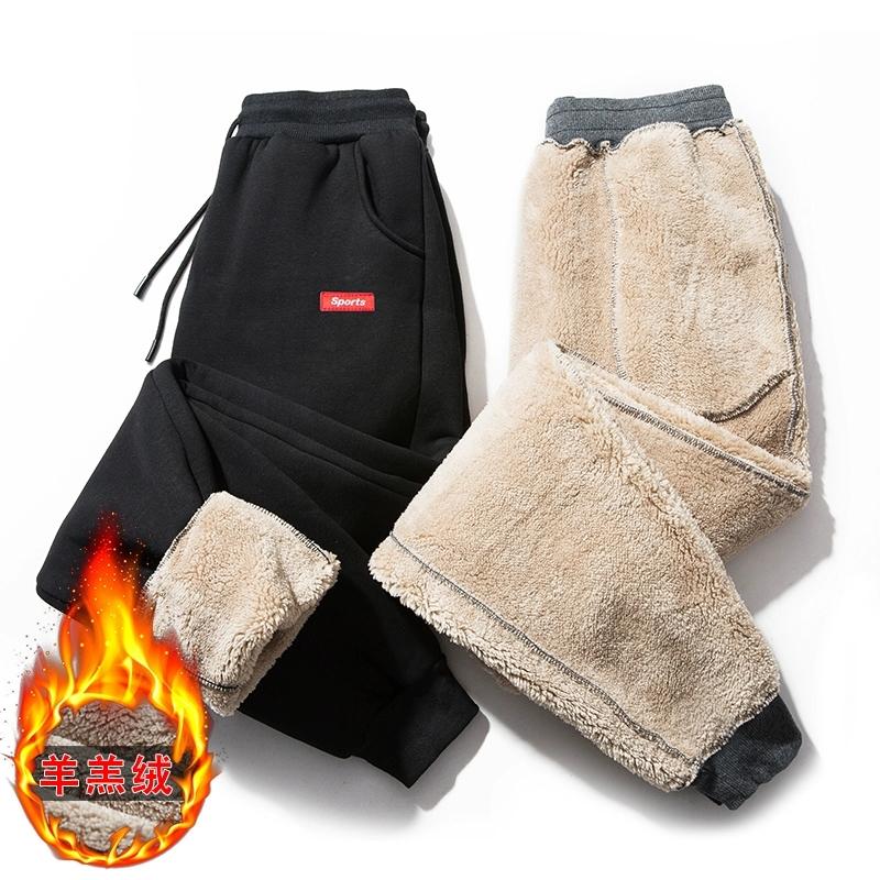 羊羔绒休闲@ 裤加绒加厚大码男士运动裤2020冬季青年潮流鞋保暖卫裤