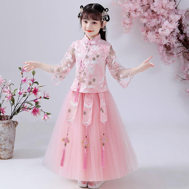 汉服女童夏2021季套装仙女连衣裙中国风儿童古装公主裙小女孩裙子