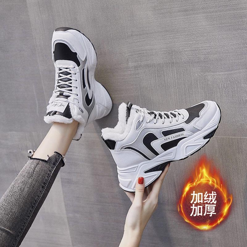 百搭加绒高帮老爹鞋女2020冬季新款韩≡版保暖棉鞋女学生运动鞋