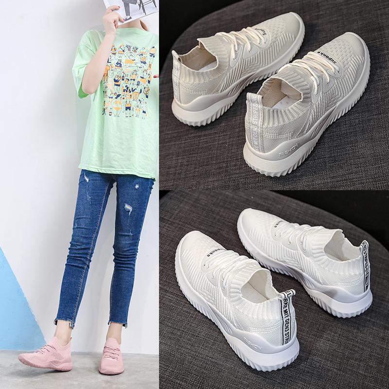 2021新款运动鞋女ins透气飞织女鞋韩版学生休闲跑步板鞋