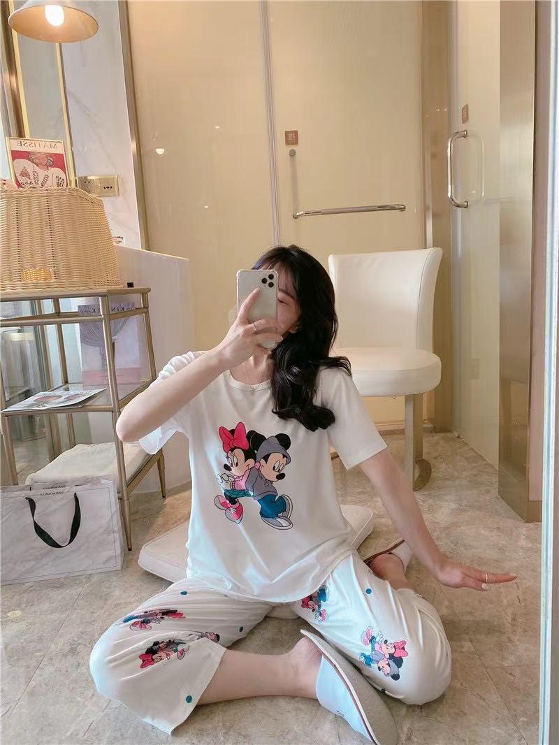 中國代購|中國批發-ibuy99|睡衣女夏季短袖长裤白雪公主米奇印花清新薄款休闲家居服舒适大码