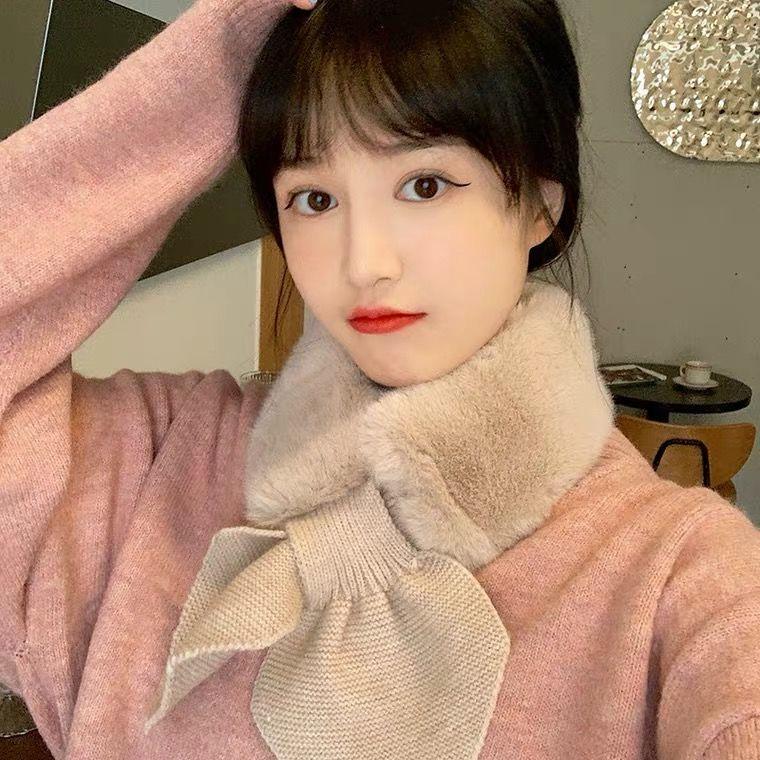 韩版秋冬季仿保暖毛交叉时尚毛线拼接围巾