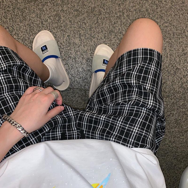 夏季港风男士格子短裤男五分裤宽松直筒休闲男裤潮流百搭沙滩裤