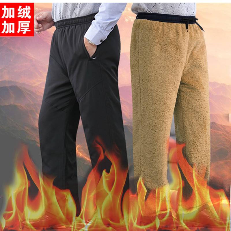 加绒加厚运动裤男冬季羊羔绒裤子外穿爸爸休闲裤中老年人棉裤男裤