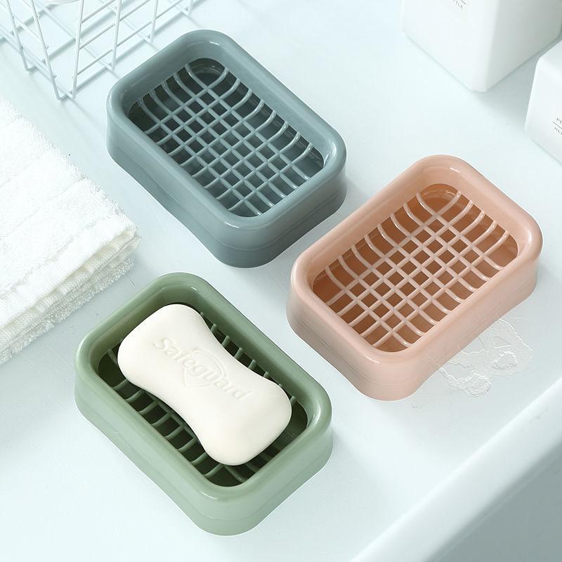 【6色任选】卫生间创意香皂盒肥皂盒双层沥水免打孔网格创意皂架